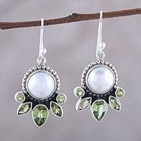 Cultured pearl and peridot dangle earrings,