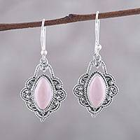 Opal dangle earrings, 'Shimmering Beauty' - Marquise Pink Opal Dangle Earrings from India