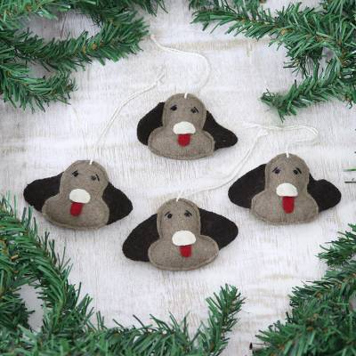 Wool felt ornaments, 'A Dog's Holiday' (Set of 4) - Set of 4 Wool Dog Ornaments Handmade in India