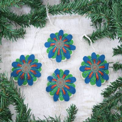 Wool felt ornaments, 'Flower Parade' (Set of 4) - Embroidered Floral Ornaments in Blue and Green (Set of 4)