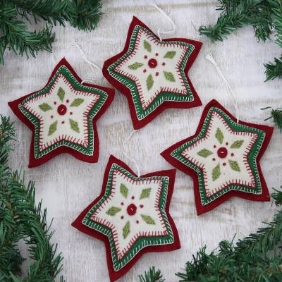 Wool felt ornaments, 'Folk Art Stars' (Set of 4) - Set of Four Wool Felt Star Ornaments from India