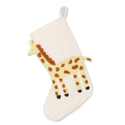 Applique Christmas Stocking with Giraffe