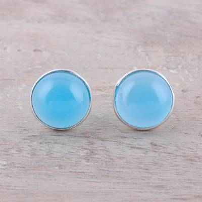 Chalcedony stud earrings, 'Moonlight Peace in Blue' - Chalcedony Stud Earrings in Blue from India
