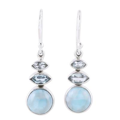 Larimar and Blue Topaz Dangle Earrings from India