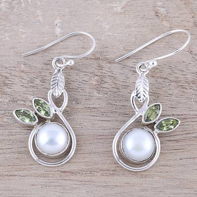 Cultured pearl and peridot dangle earrings, 'Spring Beauty' - Cultured Pearl and Faceted Peridot Dangle Earrings