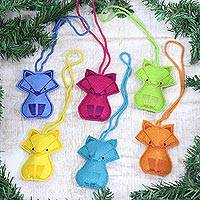 Wool felt ornaments, 'Vibrant Cats' (set of 6) - Assorted Wool Cat Ornaments from India (Set of 6)