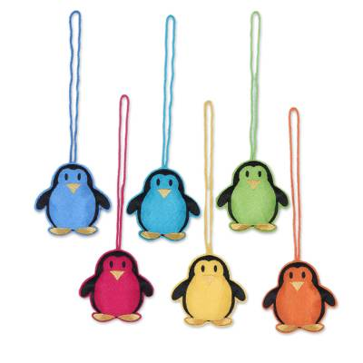 Assorted Wool Penguin Ornaments from India (Set of 6)