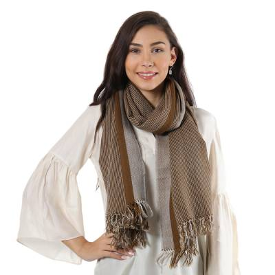 Wool shawl, 'Earth Lines' - Brown and Ivory Striped 100% Wool Handwoven Fringed Shawl