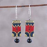 Ceramic dangle earrings, 'Bollywood Sonata' - Red Blue and Gold Ceramic Dangle Earrings from India
