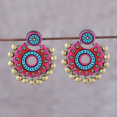 Ceramic dangle earrings, 'Bollywood Crescents' - Pink and Blue Ceramic Dangle Earrings from India