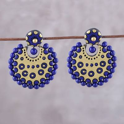 Ceramic dangle earrings, 'Heavenly Bollywood' - Blue and Gold-Tone Ceramic Dangle Earrings from India