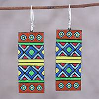 Ceramic dangle earrings, 'Bright Fusion' - Handmade Ceramic Dangle Earrings with Sterling Silver Hooks