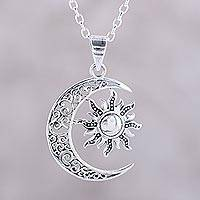 Featured review for Sterling silver pendant necklace, Celestial Duo