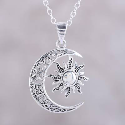 Sterling silver pendant necklace, 'Celestial Duo' - Sun and Crescent Moon Sterling Silver Pendant Necklace