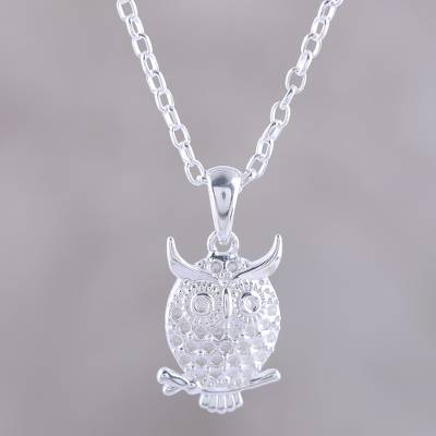 Sterling silver pendant necklace, 'Hooting Owl' - Sterling Silver Owl Pendant Necklace from India
