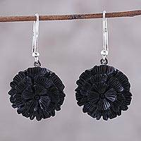 Ebony wood dangle earrings, 'Dancing Blooms' - Ebony Wood and Sterling Silver Flower Dangle Earrings