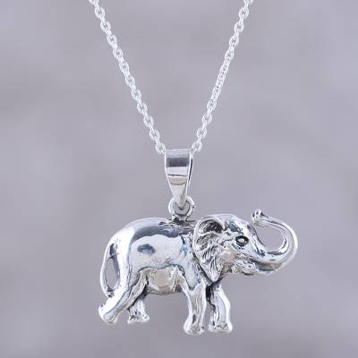Sterling silver pendant necklace, 'Gleeful Elephant' - Handcrafted Sterling Silver Elephant Pendant Necklace