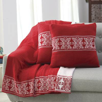 Knit cushion covers, 'Snowflake Charm' (pair) - Snowflake Knit Cushion Covers in Poppy from India (Pair)