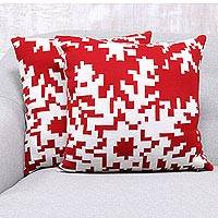 Knit cushion covers, 'Christmas Fantasy in Poppy' (pair) - Christmas-Themed Knit Cushion Covers in Poppy (Pair)
