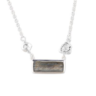 Modern Labradorite and Sterling Silver Pendant Necklace