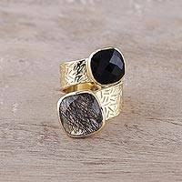 Gold plated quartz and onyx wrap ring, 'Twilight Drama' - Onyx and Tourmalinated Quartz 18k Gold Plated Wrap Ring