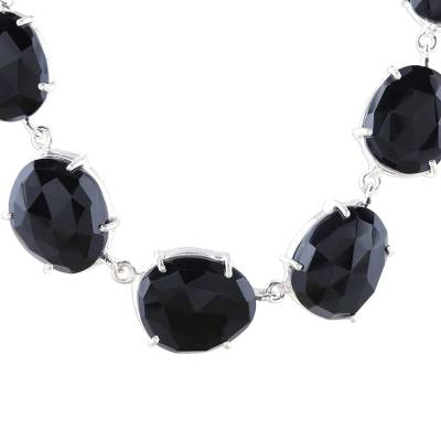 Handcrafted Faceted Onyx Sterling Silver Pendant Necklace