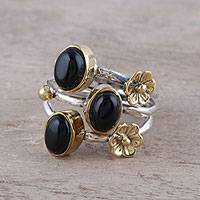 Onyx cocktail ring, 'Midnight Gala' - Oval Onyx and Brass Flowers on Sterling Silver Cocktail Ring