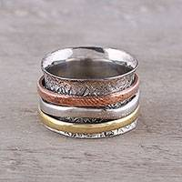 Sterling silver, copper and brass meditation spinner ring, 'Trio Treasure' - Sterling Silver Copper Brass Meditation Spinner Ring