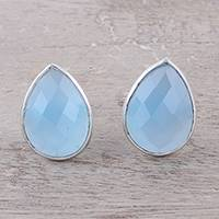 Chalcedony button earrings, 'Mystic Tears' - Teardrop Chalcedony Button Earrings from India