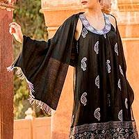 Silk shawl, 'Midnight Woman' - Silk Shawl with Beaded Fringe in Black from India