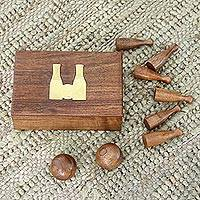 Wood bowling game,