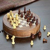 Mini wood chess set, 'Fun Times' - Handcrafted Round Acacia and Kadam Wood Chess Set from India
