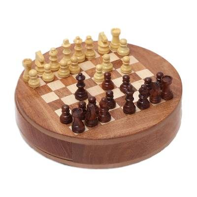 Handcrafted Round Acacia and Kadam Wood Chess Set from India