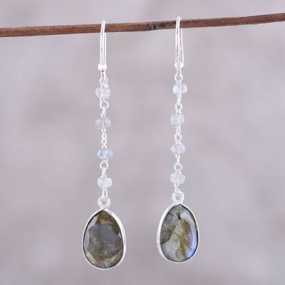 Labradorite dangle earrings, 'Raining Drops' - 10-Carat Labradorite Dangle Earrings from India