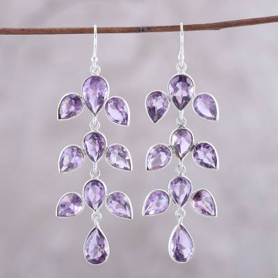 Amethyst dangle earrings, 'Leaf Cascade' - 44-Carat Amethyst Dangle Earrings from India