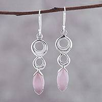Rose quartz dangle earrings, 'Modern Loops' - Modern Rose Quartz Dangle Earrings from India