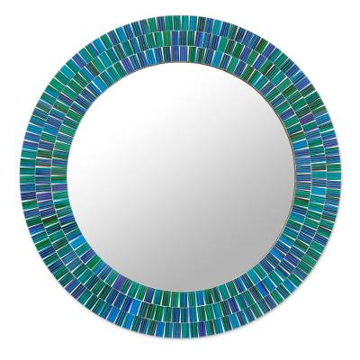 Green and Blue Glass Mosaic Wall Mirror Crafted in India