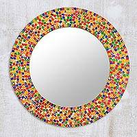 Glass mosaic wall mirror, 'Colorful Dazzle' - Round Colorful Glass Mosaic Wall Mirror from India