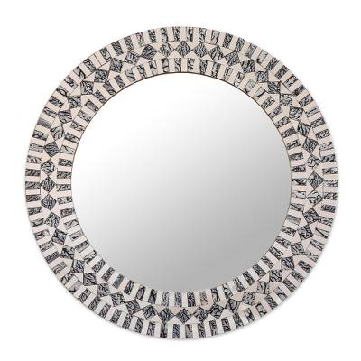 Glass Mosaic Wall Mirror in Grey and Clear from India