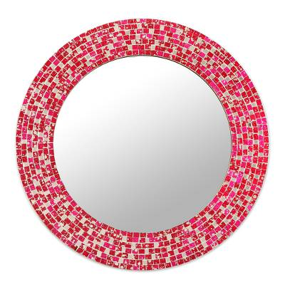 Handcrafted Crimson and Pink Glass Mosaic Wall Mirror