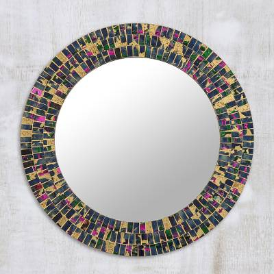Glass mosaic wall mirror, 'Dark Rainbow' - Gold and Colorful Glass Mosaic Wall Mirror from India