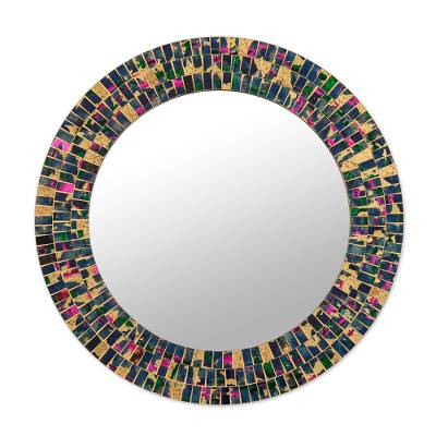 Gold and Colorful Glass Mosaic Wall Mirror from India