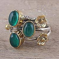 Onyx cocktail ring, 'Verdant Gala' - Floral Green Onyx Cocktail Ring from India