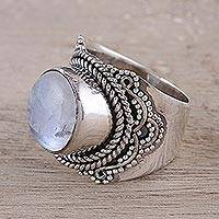 Rainbow moonstone cocktail ring, 'Rainbow Moonstone Glamour' - Natural Rainbow Moonstone Cocktail Ring from India