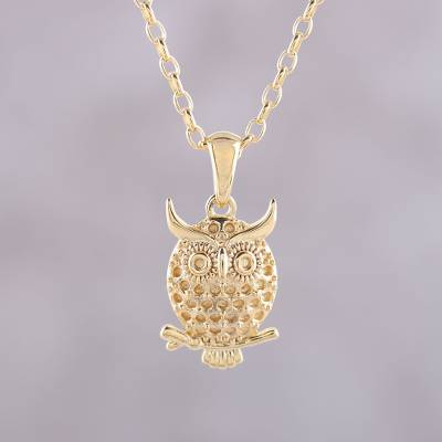 Gold plated sterling silver pendant necklace, 'Hooting Owl' - Gold Plated Sterling Silver Owl Pendant Necklace from India