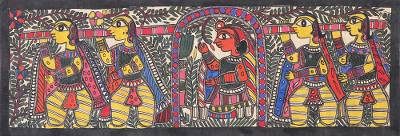 Signed Madhubani Painting of a Bride on a Palanquin