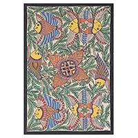 Madhubani painting, 'Fish Harmony' - Signed Madhubani Colorful Fish Painting from India