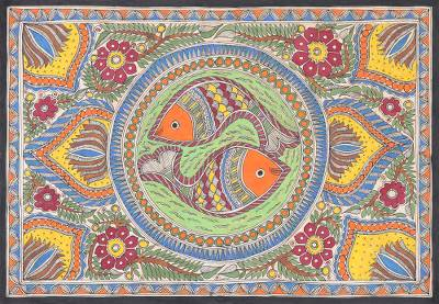 Madhubani painting, 'Fish Union' - Signed Madhubani Painting of Two Fish from India