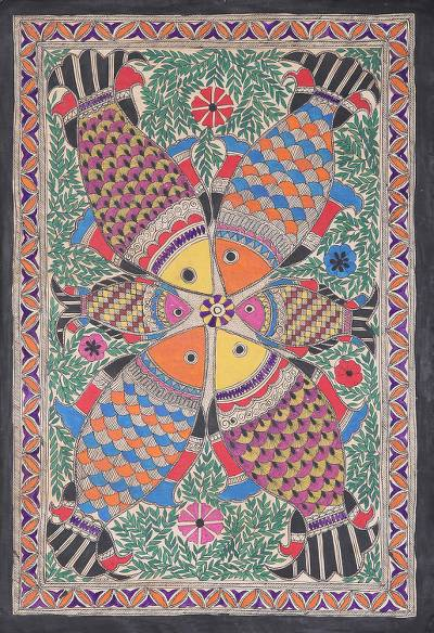 Madhubani painting, 'Togetherness' - Signed Madhubani Fish Painting from India