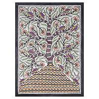 Madhubani painting, 'Abode' - Signed Madhubani Painting of a Floral Tree from India